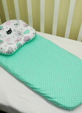 Комплект в детскую коляску (1 ) подушка и простынь
