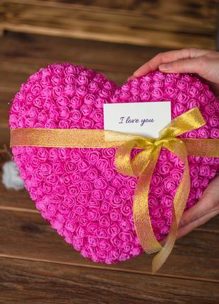Подарок на 8 марта Сердце из роз 30 см Розовое