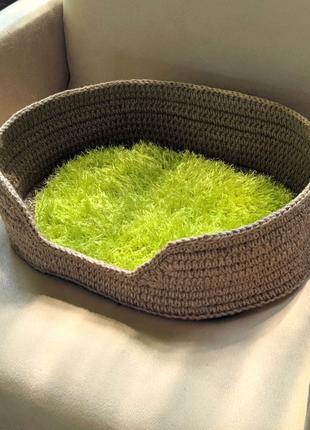 Вязаная лежанка из джута для кота собаки, лежак дом для питомцев
