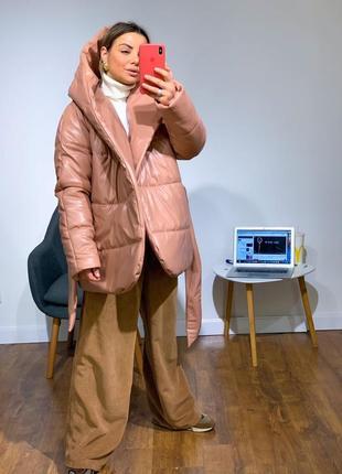 Укороченная куртка палатка из эко-кожи