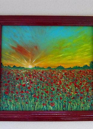 """Картина """"Рассвет в поле"""" двп масло +рама.40*50см.ручная работа."""