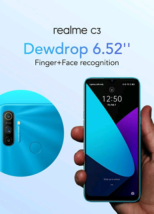 "Realme C3, экран 6.5"", NFC, 5000mAh, 3/64Gb, Android 10"
