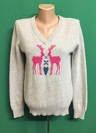 Шерстяной пуловер с оленями pavillon marine