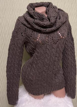 Коричневый вязанный свитер под горло хомут с отдельной горловиной