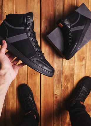 """Мужские зимние ботинки, на меху """"вінтаж ауф чорні"""""""