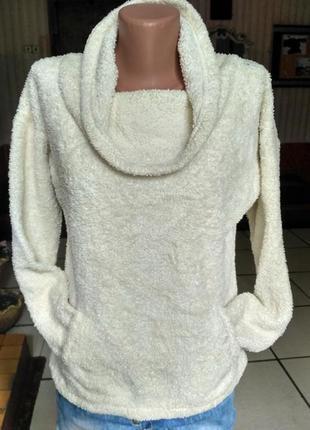 Флисовый свитер травка с широкой горловиной - хомут