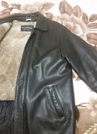 Кожаная зимняя куртка с подстежкой из натурального меха