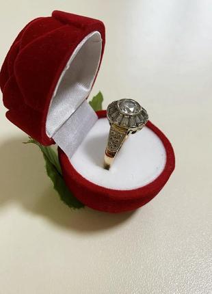 Золотое кольцо с камнями 585 пробы