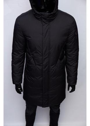 Куртка мужская удлиненная зимняя chs soft shell 1936 черная
