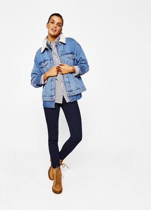Синие штаны джинсы бершка осенние 🌿😻
