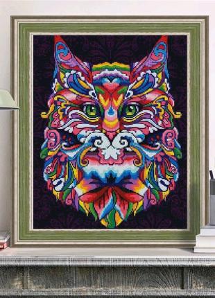 Набор алмазной вышивки 30 на 40 см. Радужный волк