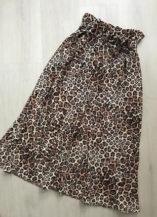 Леопардовая юбка миди из лёгкой ткани с поясом
