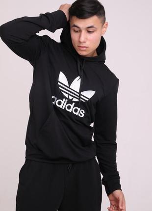 Худи черный с вышитым логотипом adidas