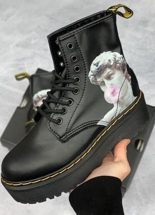 Шикарные женские ботинки dr. martens jadon black david