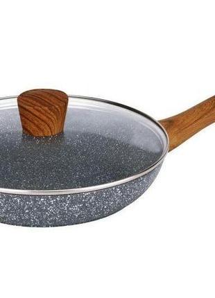 Сковорода антипригарная Maxmark - 240 мм, мрамор с крышкой