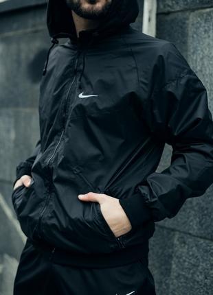 Комплект Чёрный Ветровка Найк (Nike) + Штаны + Барсетка в подарок
