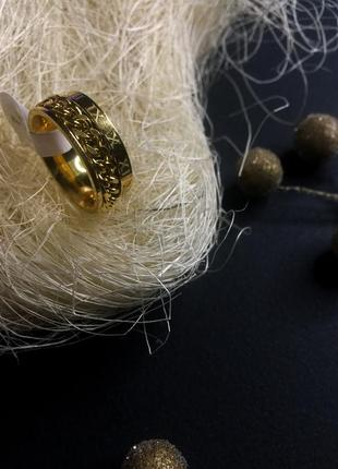 Золотое широкое большое кольцо спиннер крутящая цепь нержавеющ...
