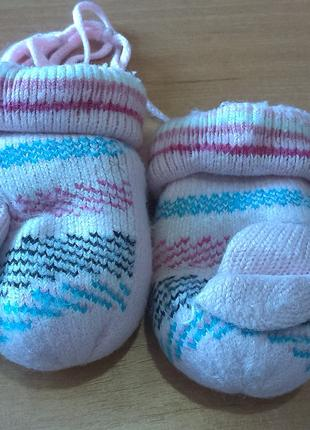 Варежки теплые на шнурочках