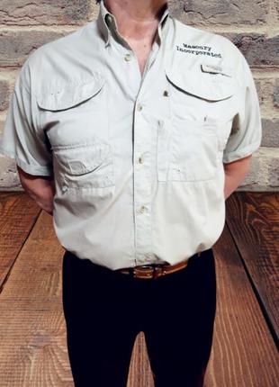 Серая рубашка columbia из хлопка с 4 карманами на липучках, s-xl