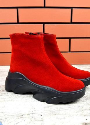 Хит-2019 натуральная замша эпатажные замшевые осенние ботинки ...