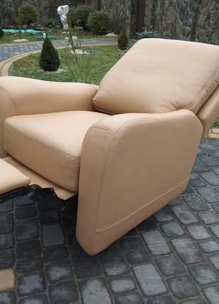 Кресло кожаное реклайнер, крісло відпочинкове натуральна шкіра