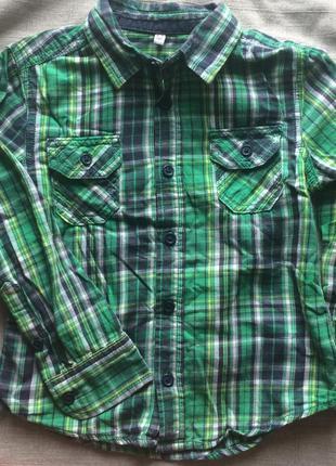 Яркая рубашка в клетку mark&spenser
