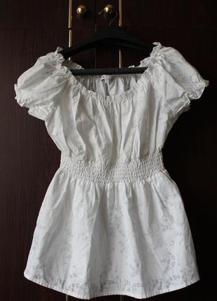 Блузка біла Oodji до коротких рукав з візерунком відтінку перлин