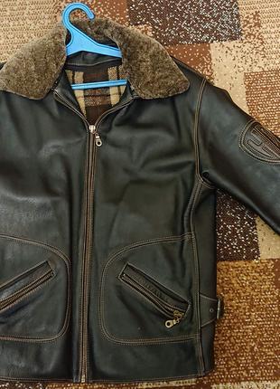 Куртка кожаная на меху, с нашивкой (brown)