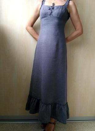 Льняное платье-сарафан длинное, лён, р. 34-36