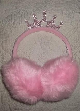 Меховые ушки с короной розовые 5-7 лет