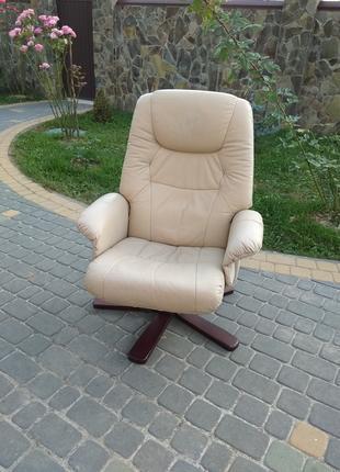 Кресло кожаное реклайнер, релакс, раскладное для отдыха, офисное