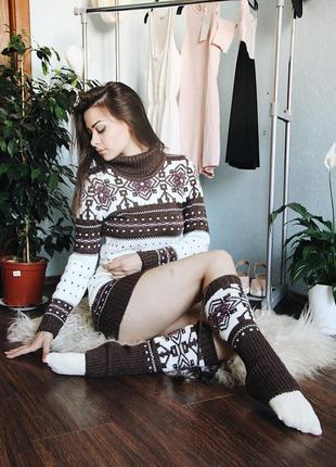 Новый вязанный комплект, удлиненный свитер и гетры