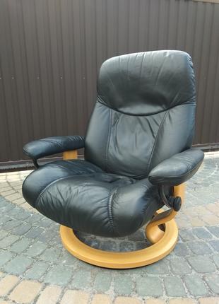 Кресло кожаное реклайнер, релакс, раскладное для отдыха в офис
