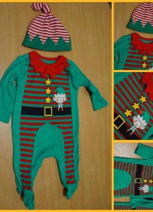 Nutmeg новогодний хлопковый костюм - человечек 0-1 мес новоріч...