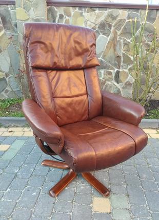 Кресло релакс кожа натуральная, крісло реклайнер шкіряне офісне