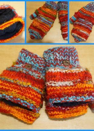 Варежки - трансформеры на флисе рукавиці митенки  мітенки