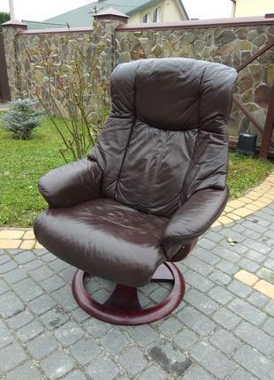 Кресло кожаное реклайнер для руководителя, шкіряне крісло офісне