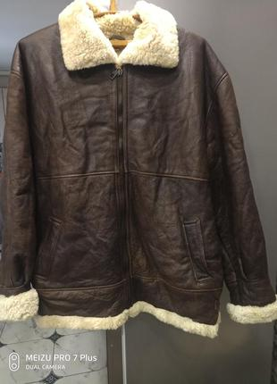 Мужской зимний кожаный бомбер на меху, куртка пилот context tm xl