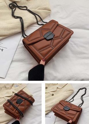 Рыжая (коричневая) сумка на цепочке