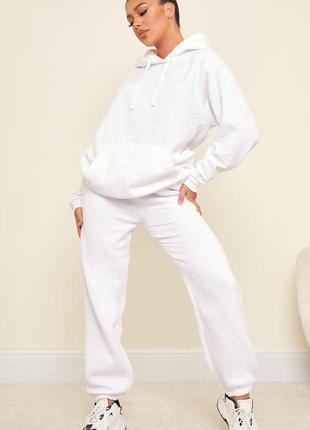 Спортивные штаны белые тёплые джоггеры высокая посадка