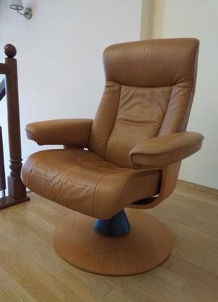 Кожаное кресло реклайнер, релакс, раскладное для отдыха, офисное