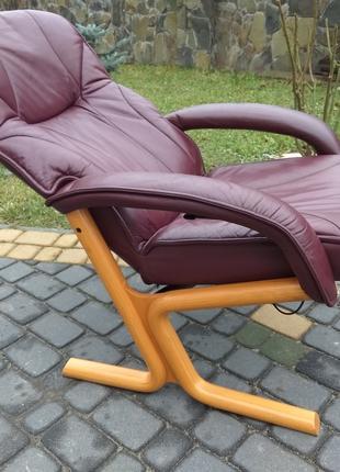 Кресло кожаное реклайнер релакс, натуральна шкіра офісне крісло