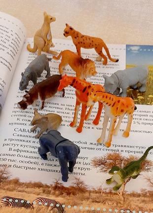 Фигурки животных, динозавры, 43шт и книга