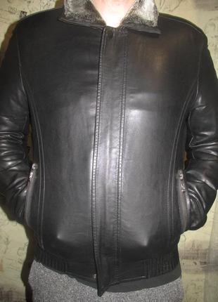 Мужская куртка  экокожа на меху