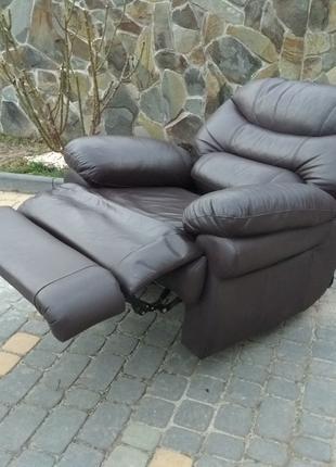 Реклайнер кожаное кресло, розкладне відпочинкове шкіряне крісло