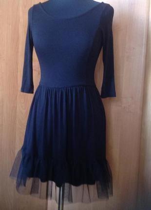 Платье черное трикотажное stradivarius р.s