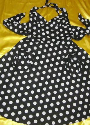 Романтическое натуральное платье в горох горошковое юбка солнц...