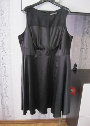 Кармическое маленькое черное платье атлас+кружево винтаж годе ...