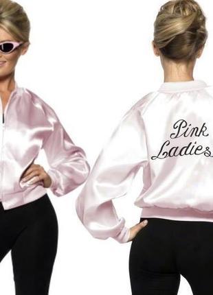 Стильный розовый бомбер атласная ветровка рубашка куртка летня...