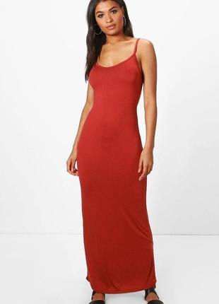 Терракотовое облегающее платье-майка макси в пол для стройняшк...